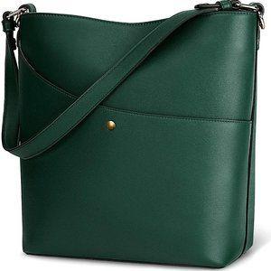 NEW Lisra Large Leather bucket bag, Dark Green